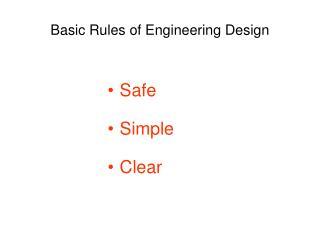 Basic Rules of Engineering Design