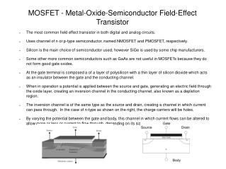 MOSFET - Metal-Oxide-Semiconductor Field-Effect Transistor