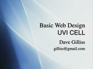 Basic Web Design UVI CELL