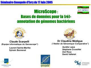 Séminaire Genopole d'Evry du 17 Juin 2005