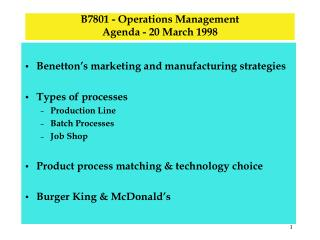 B7801 - Operations Management Agenda - 20 March 1998