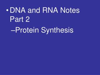 DNA and RNA Notes Part 2 Protein Synthesis