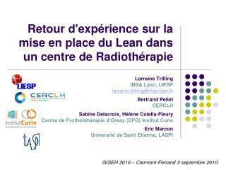 Retour d'expérience sur la mise en place du Lean dans un centre de Radiothérapie