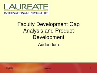 Faculty Development Gap Analysis and Product Development