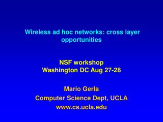 Wireless ad hoc networks: cross layer opportunities  NSF workshop Washington DC Aug 27-28
