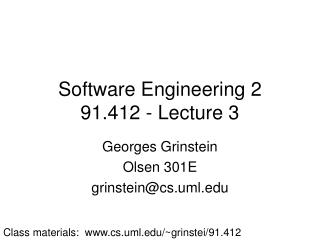 Software Engineering 2 91.412 - Lecture 3