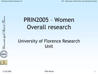 PRIN2005 – Women Overall research