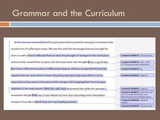 Grammar and the Curriculum