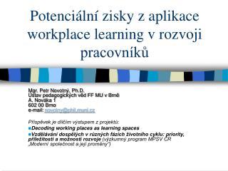 Potenciální zisky z aplikace workplace learning v rozvoji pracovníků