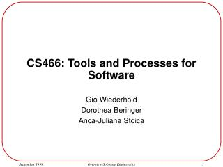 CS466: Tools and Processes for Software