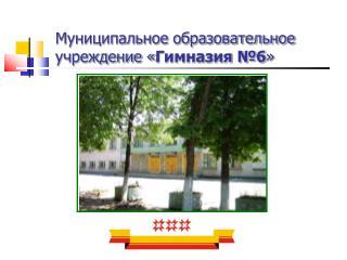 Муниципальное образовательное учреждение « Гимназия №6 »