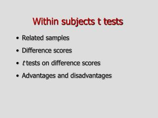 Within subjects t tests