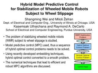 The problem of stabilizing wheeled mobile robots (WMR) subject to wheel slippage is studied.