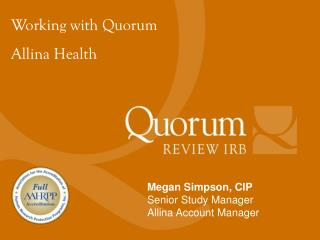 Working with Quorum Allina Health
