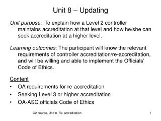 Unit 8 – Updating