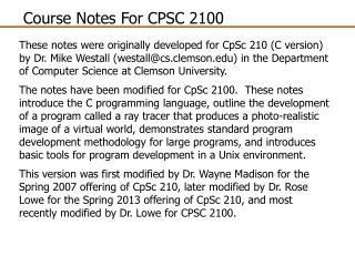 Course Notes For CPSC 2100