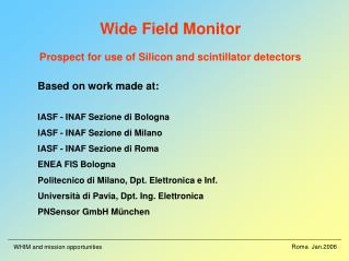 Wide Field Monitor Prospect for use of Silicon and scintillator detectors