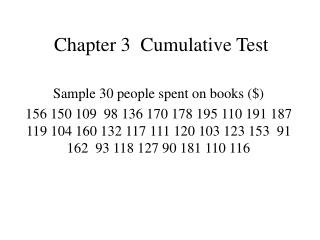 Chapter 3 Cumulative Test