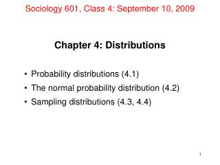 Sociology 601, Class 4: September 10, 2009