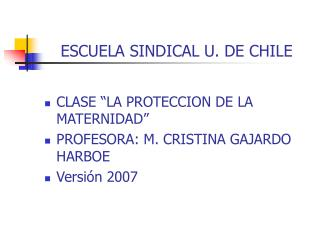 ESCUELA SINDICAL U. DE CHILE