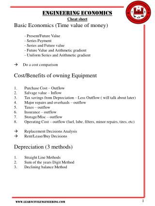 Engineering economics Cheat sheet