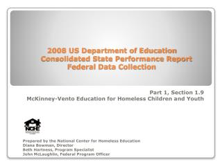 2008 US Department of Education Consolidated State Performance Report Federal Data Collection