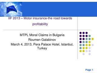 IIF 2013 – Motor insurance-the road towards profitability