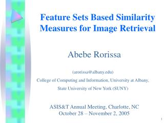Feature Sets Based Similarity Measures for Image Retrieval
