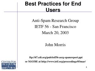Best Practices for End Users