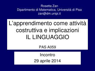 L ' apprendimento come attività costruttiva e implicazioni IL LINGUAGGIO PAS A059