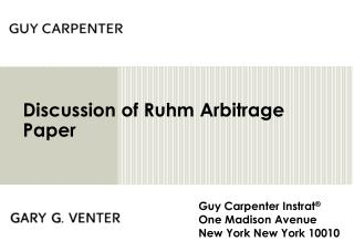Discussion of Ruhm Arbitrage Paper