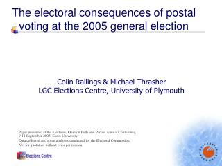 The electoral consequences of postal voting at the 2005 general election