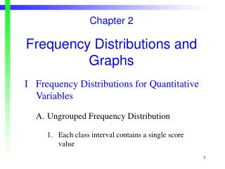 Chapter 2 Frequency Distributions and Graphs I	Frequency Distributions for Quantitative		Variables