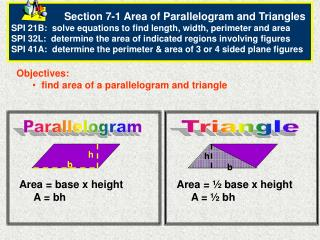 Objectives:   find area of a parallelogram and triangle