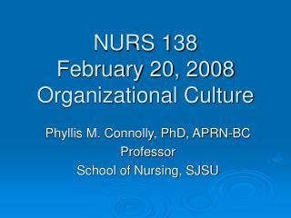 NURS 138 February 20, 2008 Organizational Culture