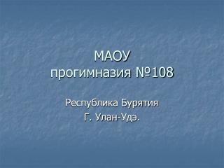 МАОУ прогимназия №108