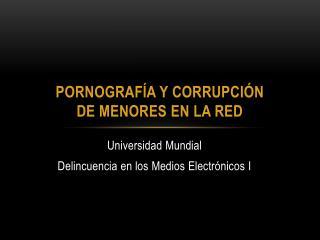 Pornografía y corrupción de menores en la red