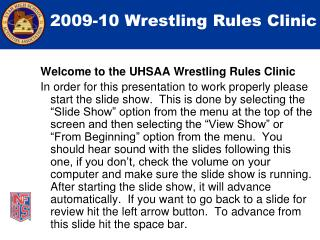 2009-10 Wrestling Rules Clinic