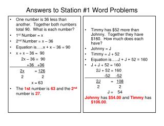 Answers to Station #1 Word Problems