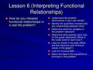 Lesson 6 (Interpreting Functional Relationships)