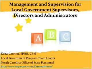 Management and Supervision for Local Government Supervisors, Directors and Administrators