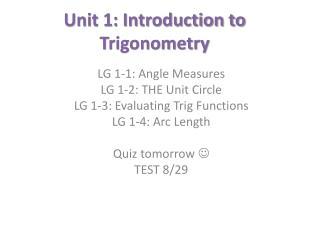 Unit 1: Introduction to Trigonometry