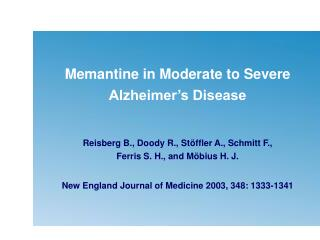 Memantine in Moderate to Severe Alzheimer's Disease