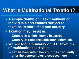 What is Multinational Taxation?