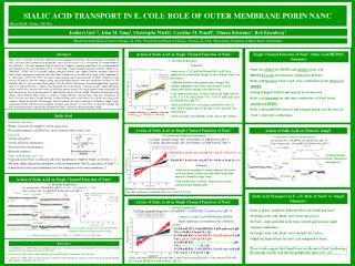 SIALIC ACID TRANSPORT IN E. COLI: ROLE OF OUTER MEMBRANE PORIN NANC