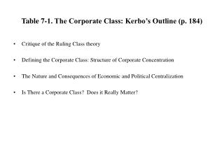 Table 7-1. The Corporate Class: Kerbo's Outline (p. 184)