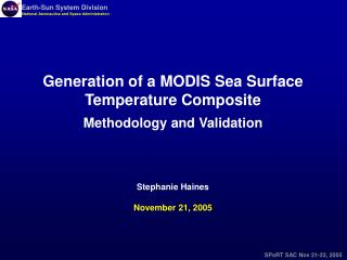Generation of a MODIS Sea Surface Temperature Composite Methodology and Validation