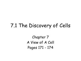 7.1 The Discovery of Cells