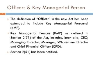 Officers & Key Managerial Person