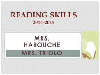 Reading Skills 2014-2015
